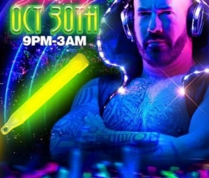 cover event PECS Infinity presents a Halloween glow party with DJ Neon the Glowgobear!